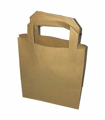 250 SMALL BROWN KRAFT PAPER CARRIER SOS BAGS 7x3.5x8.5