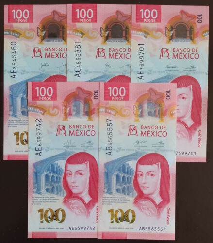 MEXICO 2020 $100 SOR JUANA + NEW POLYMER + 5 SIGNATURES SET see img. read descr.