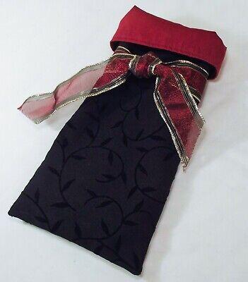 Handmade Reversible WINE BOTTLE GIFT BAG Burgundy & Black Velvet Festive COZY