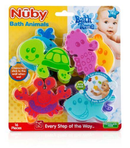 Nuby Fun Floating Foam Bath Toy Animals - 16 Piece Set - BPA Free - Unisex