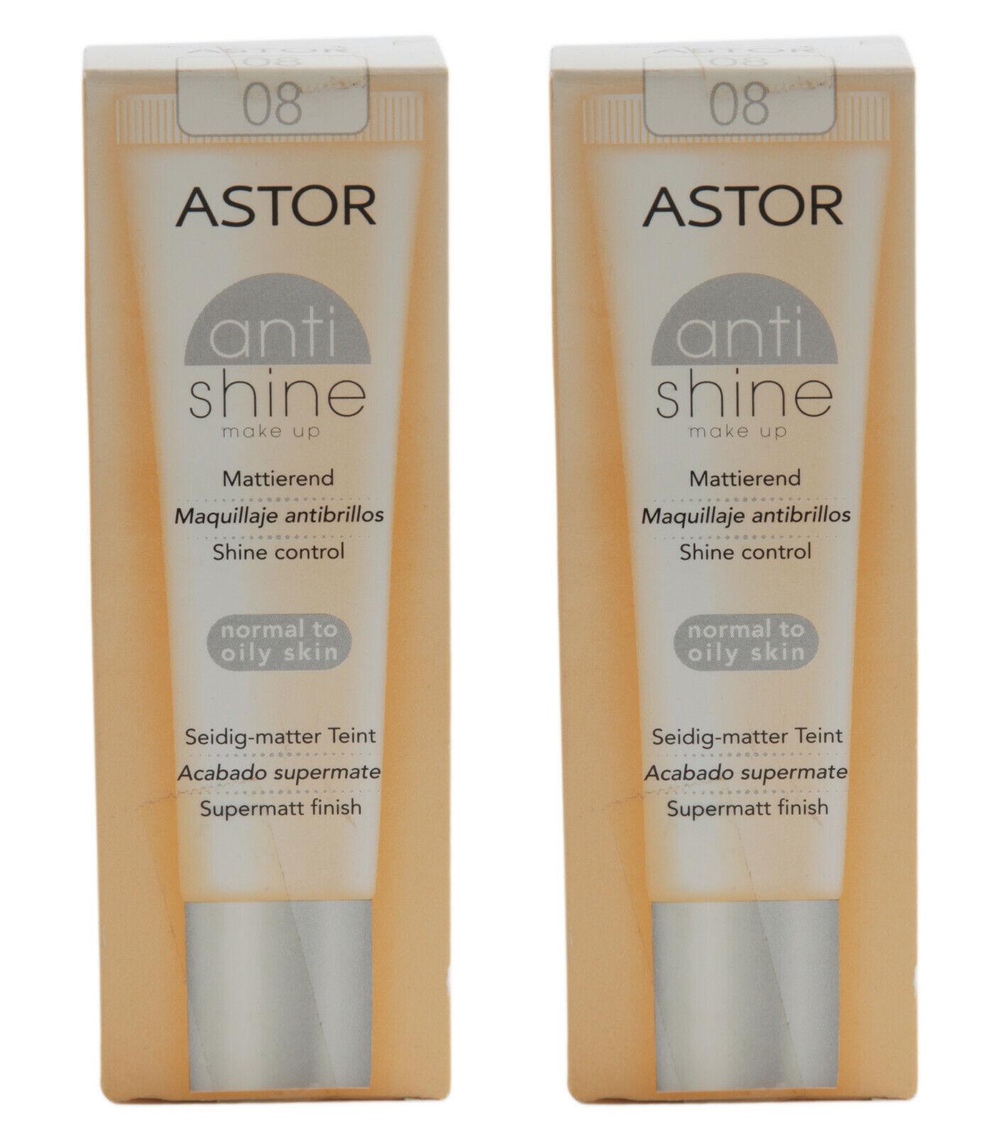 2 ASTOR antishine MAKE UP Mattierend SEIDIG-MATTER TEINT Supermatt ANTI SHINE 08