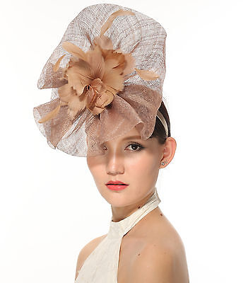 Newest Women's Large Sinamay Fascinator Headband Cocktail Hat Taupe