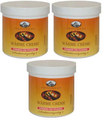 Wärme Creme 3x 250ml Muskel Gelenke wärmende Creme Entspannung Massage