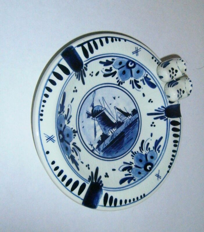 Delft Blue Hand Painted Holland Windmill Ashtray with Shoes #301 Flawless