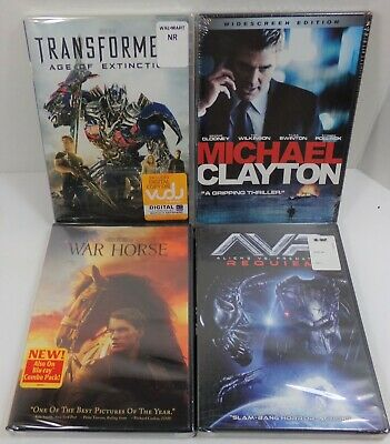 4 DVD collection AVP WAR HORSE TRANSFORMERS AGE OF EXTINTION MICHAEL CLAYTON new