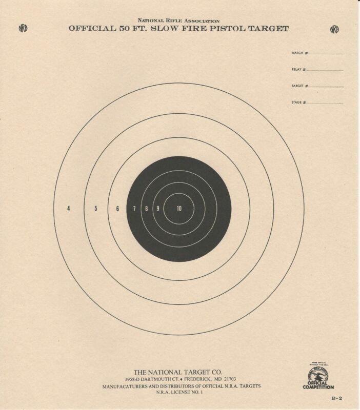 B-2 [B2] NRA Official 50 Foot Slow Fire Pistol Target (100) Tagboard