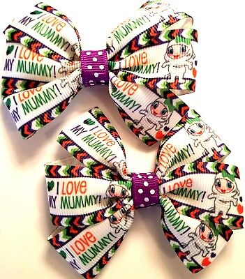 Halloween Mummy Hair (Halloween Hair Bow Set of 2 I Love My Mummy Hair Bow Set Halloween Pig Tail)