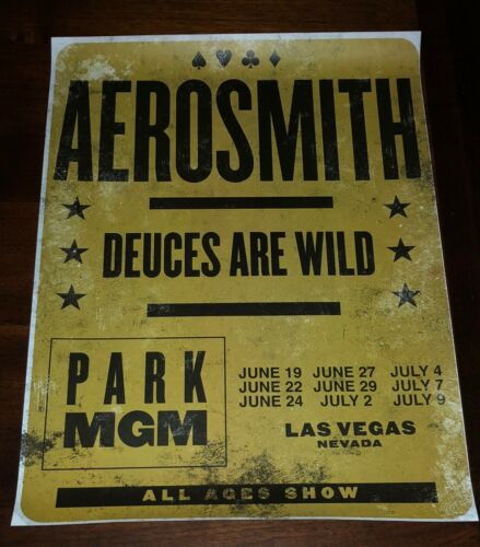 Aerosmith Deuces Are Wild Concert Poster Las Vegas Park MGM Residency Rare Find