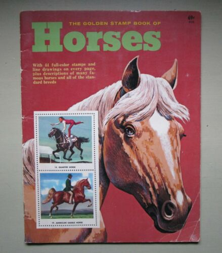 1974 THE GOLDEN STAMP BOOK OF HORSES Sam Savitt Illustrated Stamps
