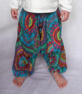 Girls boys harem pants baggy summer hippy boho trousers 3,4,5,6,7 years