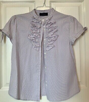 - Piazza Sempione 44 IT Striped Ruffle Button Down Shirt Cotton Blend Short Sleeve