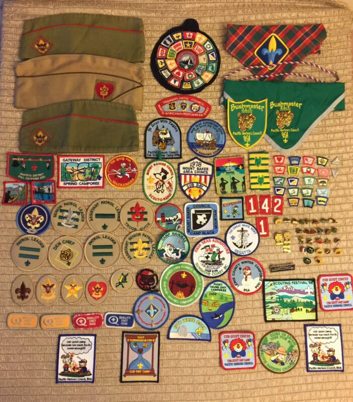 BSA Boy Scouts Of America Patch Pin Lot Over 100 Pieces Hats Scarves