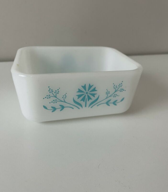 Vintage Glasbake Refrigerator Dish Serving Turquoise Rare Daisy Floral Retro