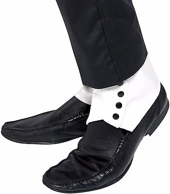 Mens WHITE Spats Shoe Covers Roaring 20s Gangster Adult Costume Spat Capone - White Spats