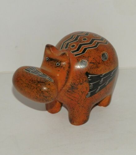Small Vintage Painted Carved Stone Hippopotamus Hippo Figurine
