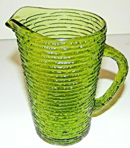 "VTG SORENO (Avocado Green) Glass Juice Pitcher 6.5"" Tall -Anchor Hocking- GC"
