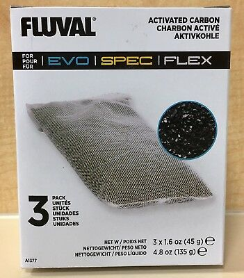 Fluval Carbon Bags - Fluval Spec Activated Carbon Filter Media Bags 3 Pack Aquarium Fish Tank A-1377
