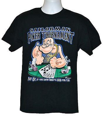 Popeye T-shirt Tee - Popeye T-shirt Sailorman Poker Tournament Graphic Tee Black Cotton NWT