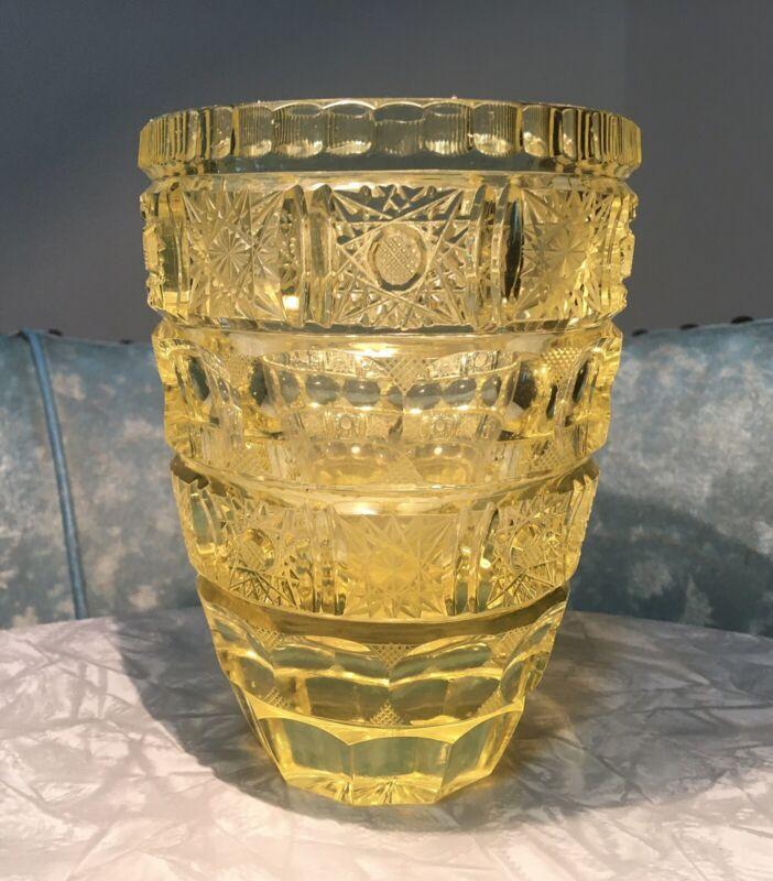 Vintage Moser? Cut Crystal Starburst Yellow Vase