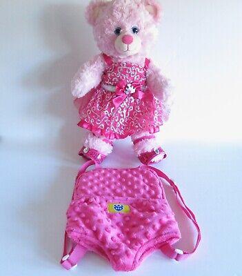 BAB Build A Bear Pink Princess Plush Stuffed Animal Dress Shoe Backpack Carrier  ()