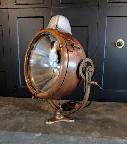 Vintage Novalux Copper Floodlight Projector w/ Brass Yoke by General Electric