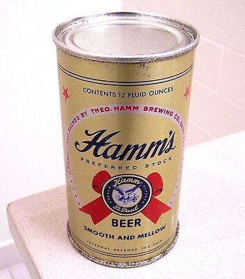 **clean c. 1940s HAMM'S Preferred Stock IRTP flat top beer can from St. Paul, MN