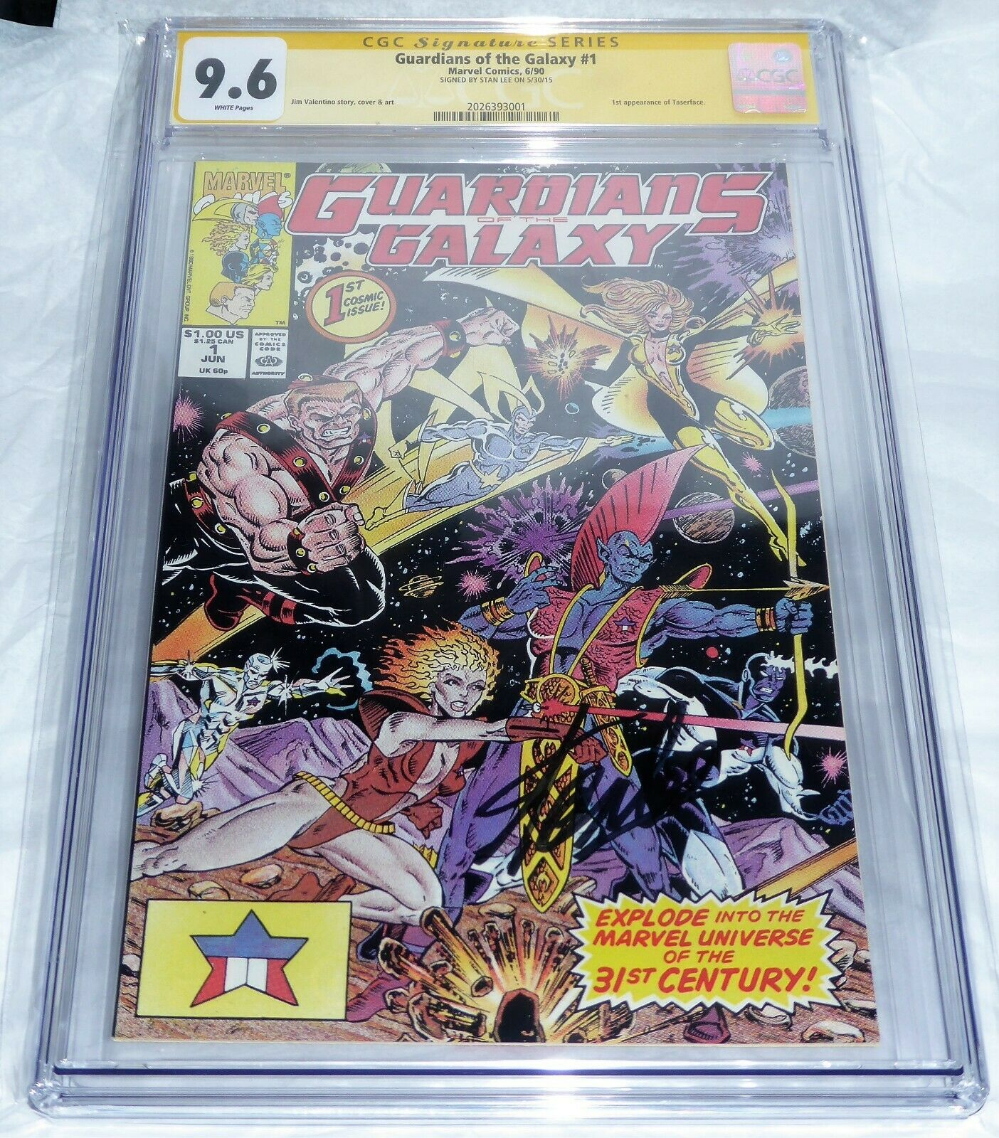 Guardians of the Galaxy #1 CGC SS Signature Autograph 9.6 STAN LEE 1st Taserface