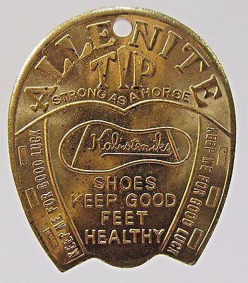 vintage ALLENITE TIP SHOES horseshoe shape Good Luck token medal HI-GRADE *