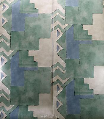 Aztec South Western Santa Fe Geometric Designer Blue Green Rustic Roll Wallpaper Southwestern Rustic Santa