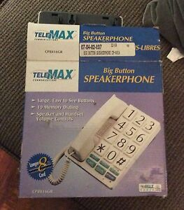 Big Button Speaker Phone Blind Person New In Box White