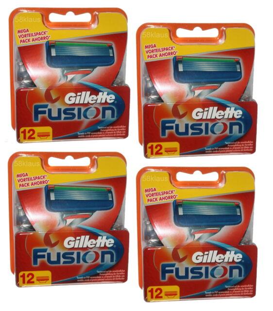 48x Gillette Fusion Rasierklingen Klingen org. 4x 12er Set 48er Gilette Gilette