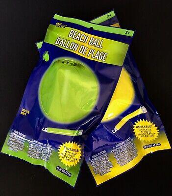 Play Glow, GLOW IN THE DARK BEACH BALLS, Translucent W/Glow Sticks, Reusable-NEW