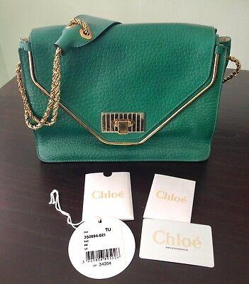 Authentic Chloe Sally Medium Shoulder Bag Handbag Green Leather Gold Straps Flap
