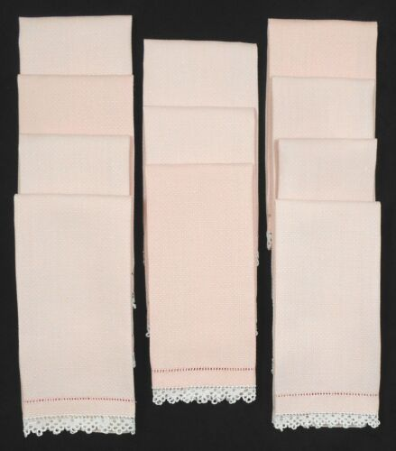 """11 Vintage Pink Linen Hand Towels Ivory Crocheted Edging 14.75"""" x 21.25"""""""