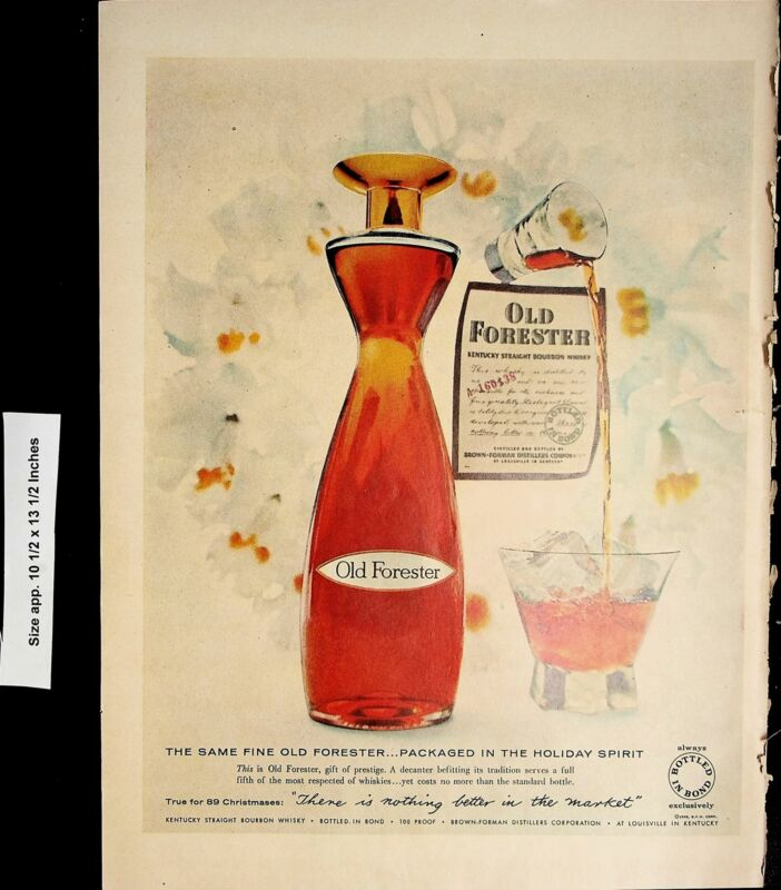 1958 Old Forester Bourbon Whiskey Vintage Print Ad 4837
