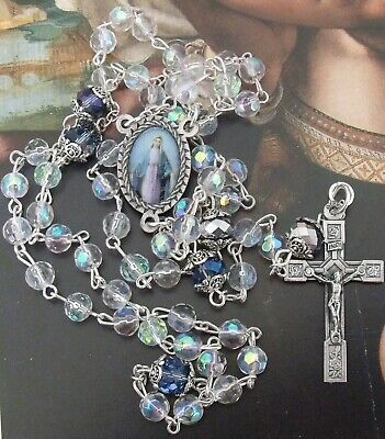 Crystal /& Glass Beads Dark Cobalt Blue and Black AB Crystals Stunning Floating Blue Crystal Necklace and Bracelet Set