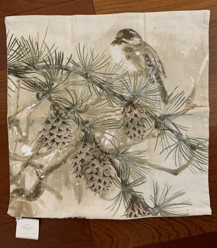 "NWT Pottery Barn ~SNOW PINE BIRD~ 20"" PILLOW Cover ~CHRISTMAS~ SHIMMER Winter"