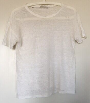 Zara Woman White Distressed Linen T Shirt Small