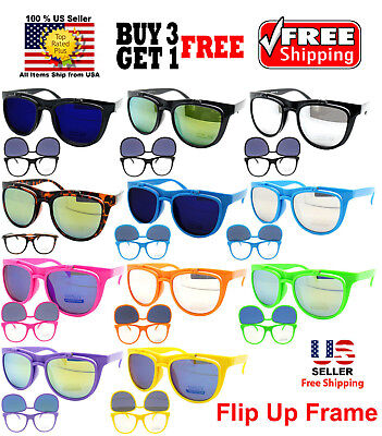 FLIP UP FRAME MIRROR LENS MULTI COLORS SUNGLASSES SHADES CLEAR GLASSES B3G1 FREE