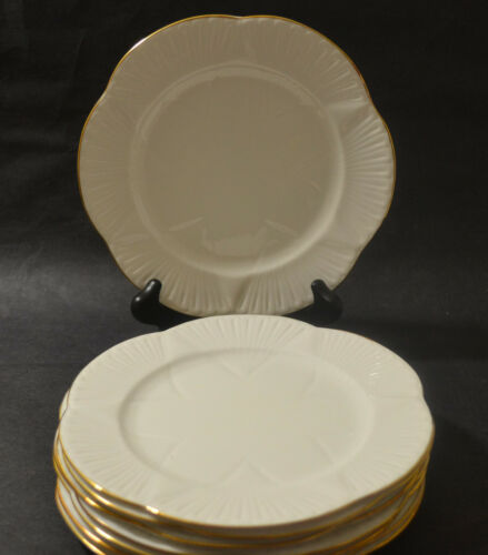 SHELLEY REGENCY BONE CHINA SALAD PLATES WITH GOLD TRIM SET OF 8