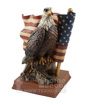 Bald Eagle Figurine Statue United States Flag Patriotic Home Office Decor USA  Collectible Eagle Figurine