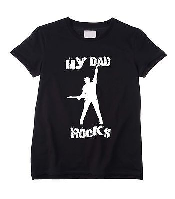 Dad Rocks Kids T-shirt (MY DAD ROCKS KIDS UNISEX T-SHIRT - Fathers Day Gift Present Birthday Childrens)