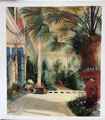 Ölgemälde Palmenhaus auf der Pfaueninsel bei Potsdam von Carl Blechen 60 x 70cm.