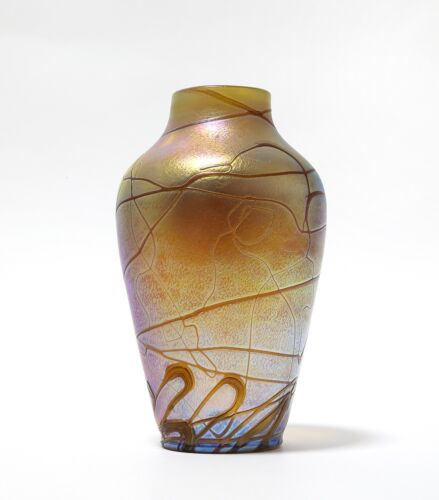 Art glass vase. Loetz technique.