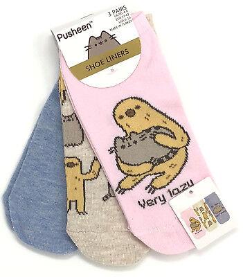 3 Paar Pusheen The Cat Damen Sneaker Socken Set Faultier Füßlinge 37-42 Primark