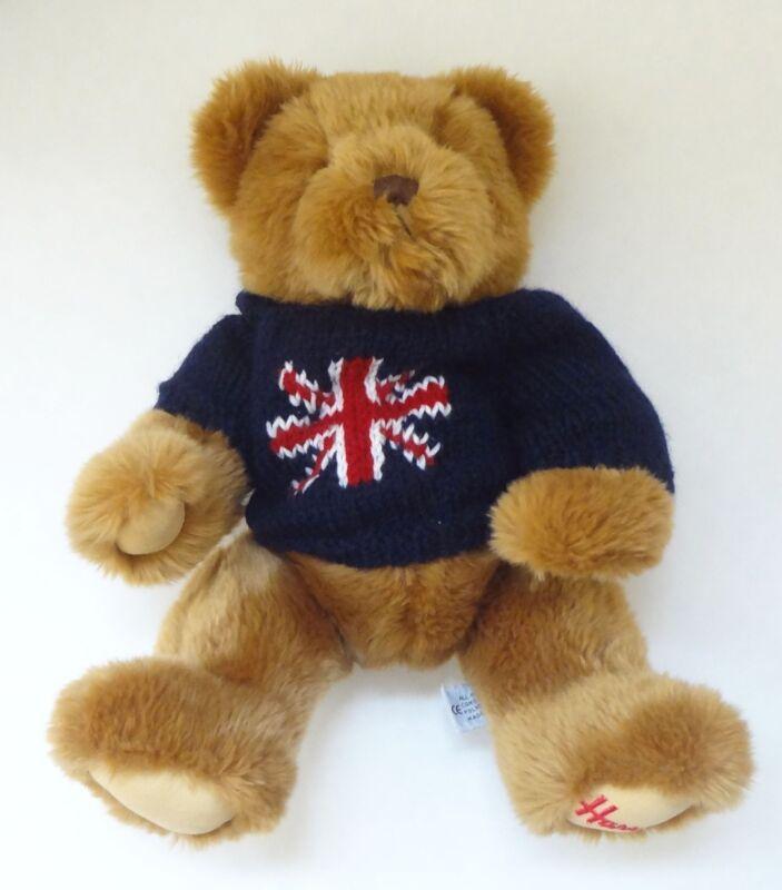 Vintage Harrods Knightsbridge Christmas Teddy Brown Bear Sweater Foot Logo16 in