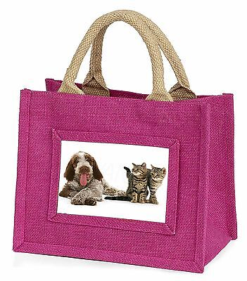 Italian Spinone Dog and Kittens Little Girls Small Pink Shopping Bag , AD-SP1BMP
