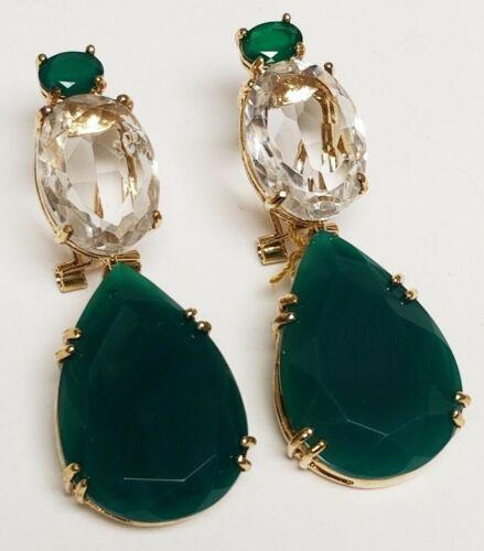 BOUNKIT Green Agate Rock Quartz Tear Drop 14K Gold Plated Dangle Earrings $420