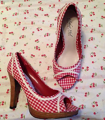 New Retro PinUp Rockabilly Highest Heel Collection Red Gingham Faux Wood Heel 7
