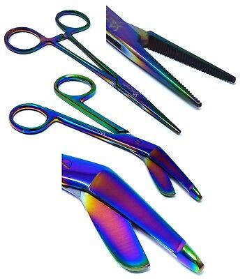 2 Multi Titanium Rainbow Color Lister Bandage Scissors 5 5  Straight Hemostat 5